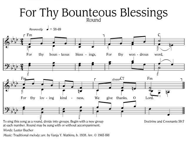 For Thy Bounteous Blessings